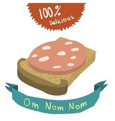 Cartoon bread and sausage flat icon vector image