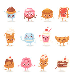cartoon cake character chocolate sweets vector image
