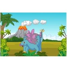 Cartoon cute dinosaur vector image
