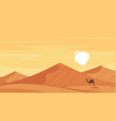 Cartoon style background with hot desert vector