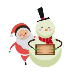 christmas santa claus with snowman together with vector image