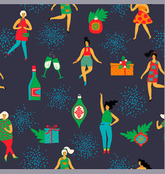 Christmas seamless pattern with dancing women and vector