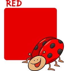 Color Red and Ladybug Cartoon vector