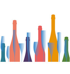 Colored silhouettes of bottles of alcohol vector