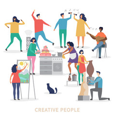 creative people characters group vector image