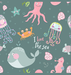 cute monsters of the deep vector image