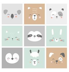 Cute simple animal faces portraits - hare bear vector