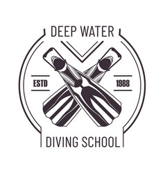 Deep water diving school isolated monochrome promo vector