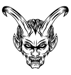 demons with long horns and he opens his mouth vector image