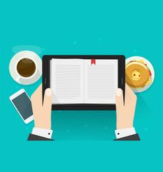 Digital book reading man electronic notebook vector