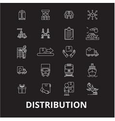 distribution editable line icons set on vector image