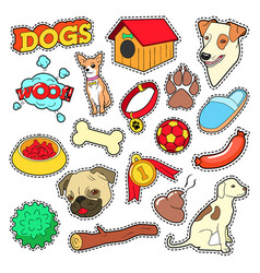 Dogs Pets Doodle for Scrapbook Stickers Patches vector image