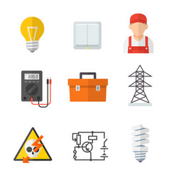 Electrician industry icon cartoon set vector
