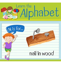Flashcard letter N is for nail in wood vector