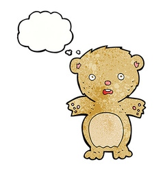 Frightened teddy bear cartoon with thought bubble vector