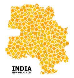 Gold rotated square mosaic map new delhi city vector