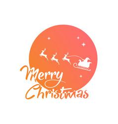 Gradient santa claus reindeer and moon poster vector
