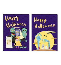 happy halloween party cards with cute zombies vector image