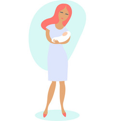 happy young woman holding newborn baby vector image