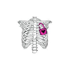 Heart is locked in skeleton chest vector