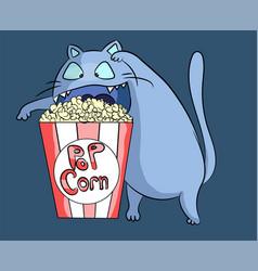 hungry popcorn cat at cinema vector image
