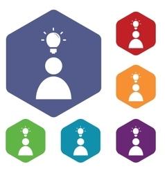 Idea icon colored hexagon set vector
