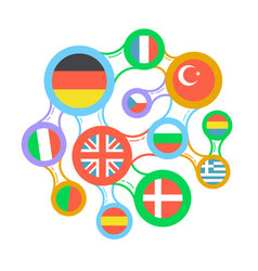 interrelated flags countries linear icon vector image
