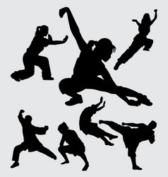 kungfu martial art silhouette vector image