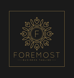 Letter f logo with classic and luxurious line art vector
