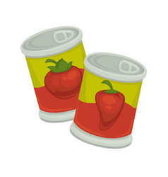 Little iron plastic banks with tomatoes and red vector