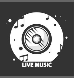 Live music black and white logotype with vynil vector