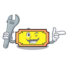 Mechanic ticket mascot cartoon style vector