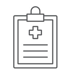 Medical record thin line icon hospital medicine vector