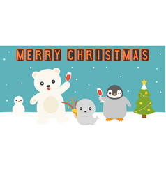 Merry christmas neon light with arctic animals par vector