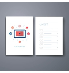 Modern social media mobile video flat icon cards vector image