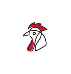 monoline chicken logo vector image