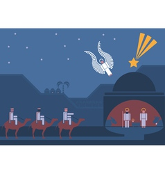 nativity scene and the three wise men vector image