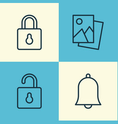 network icons set collection of unlock bell vector image