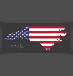 north carolina map with american national flag vector image