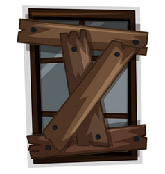 Old window nailed with boards vector