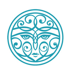 ornamental woman face vector image