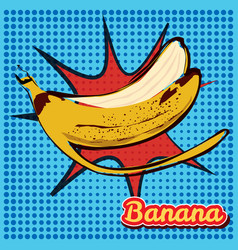 peel banana with a point texture pop-art style vector image