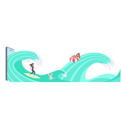 people swimming and surfing on waves men and women vector image