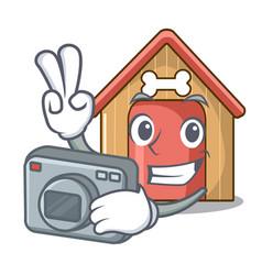 Photographer dog house isolated on mascot cartoon vector