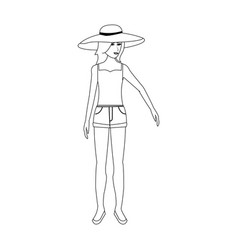 pretty happy woman wearing big sun hat tank top vector image
