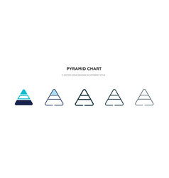 pyramid chart icon in different style two vector image