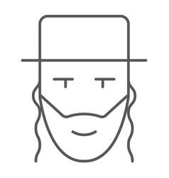 Rabbi thin line icon israel and person jewish vector