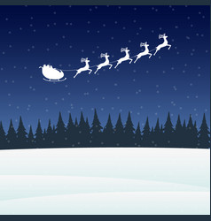 reindeer in harness with sleigh santa claus for vector image