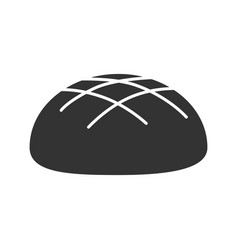 Round rye bread loaf glyph icon vector