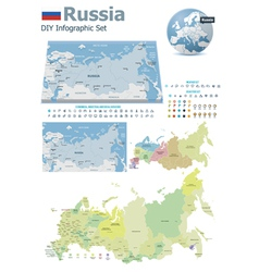 Russia maps with markers vector